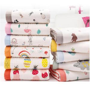 New born Baby Stuff Muslin 6 Layer Quilt Rainbow Swaddle Layer Curly Children's Bedding Organic Baby Stroller Blankets LJ201105