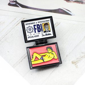 X-FILES FBI FOX 멀더 ID 카드 브로치 SIMPSONS 부서 조사원 에나멜 핀 배지 Lapel 청바지 셔츠 쥬얼리