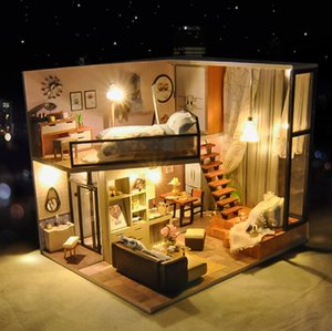 DIY House Wooden Doll Houses Miniature Dollhouse Furniture Kit with Christmas Gift for children Christmas Gift TD16