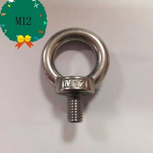 M12 304 Stainless Steel Lifting Eye Bolts Ring Screw Loop Hole for Cable Rope Lifting LAlG#