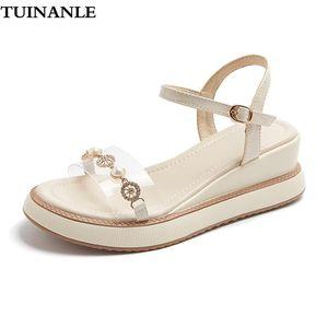 Tuinanle Donne Sandali Trasparente PU Scarpe fresche Estate Sandali trasparenti Chaussures Femme Pearl Wedges Sandalias Mujer