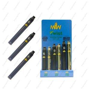 Designer universale MAW Twist Battery Kit 3.3-4.8v Preriscaldate il preriscaldamento di tensione variabile con scatola di presentazione 24pcs 650 900 1100mah Cartucce fit