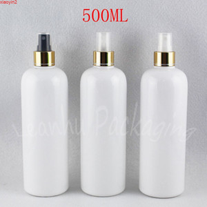 500ML White Round Shoulder Plastic Bottle With Gold Spray Pump , 500CC Toner   Water Packaging Empty Cosmetic Containerhigh qualtit