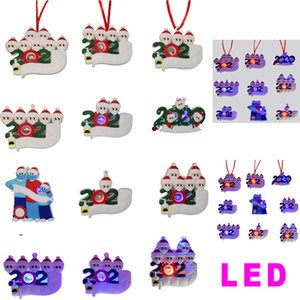 2020 LED Christmas Quarantine Ornaments 2021 Personalized Name Pendant Gift Survivor Family Xmas Tree DIY Party Decorations with Face Mask