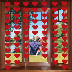 Red Heart Hanging String Ghirlanda Feltro Banner FAI DA TE Curtain Home Party di nozze Valentines Day Birthday Decor JK2101PH