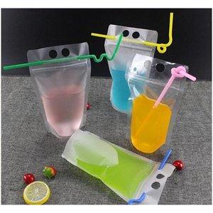 17oz 500ml Bolsas de bebida clara Bolsas con cremallera helada Soporte de plástico Bolsa de consumo de plástico con paja con el titular Reclos Jllbol JHHOME