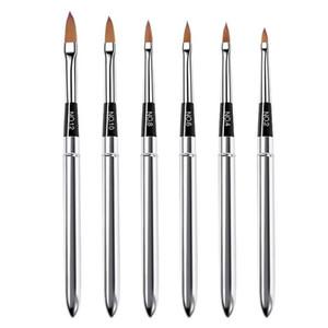 6Pcs Nail Art Metal Handle Acrylic UV Gel Extension Builder Petal Flower Painting Drawing Brush Manicure Tools
