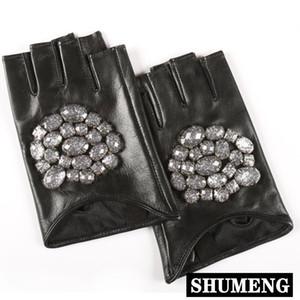 Fashion 2020 Rhinestone Inlay Fingerless Leather Gloves Hot Sale Trendy High Quality Autumn Winter Women Genuine Leather Gloves