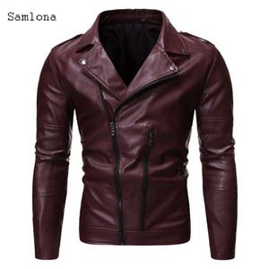 Fashion men's wallet coat 2020 spring autumn inclined zipper zipper back Bopu men's motorcycle split leather jacket coat