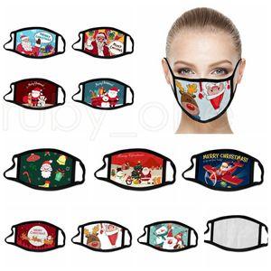 Christmas Face Masks Xmas Party Masks Anti Dust Fog Breathable Washable Reusable Snowflake Santa Claus Snowman Printed Mouth Cover RRA3674