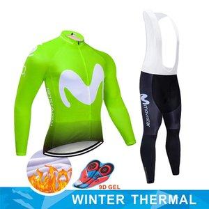 Ropa Ciclismo Invierno 2020 Team Movistar Winter Cycling Jersey Set Thermal Fleece Cycling Clothing Mtb Bike Jersey Bib Pants Set
