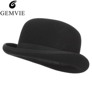 4 Sizes 100% Wool Felt Black Bowler Hat For Men Women Satin Lined Fashion Party Formal Fedora Costume Magician Cap