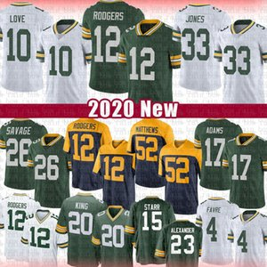 12 Aaron Rodgers 33 Jones Football Jersey 10 Love 17 Davante Adams 26 Darnell Savage JR 20 Kevin King Bart Starr Clay Matthews Brett Favre