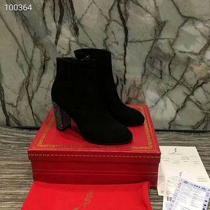 Vendita calda-Well Hot Luxury Shoes New Winter punta rotonda in pelle Stivali Donna gladiatore spessa tacco Stivaletti Scarpe Donna High Heel Boots Flock