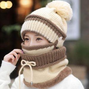 Winter wool hat women plus velvet padded riding battery car windshield hat winter warm scarf mask riding suit