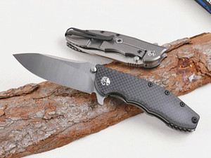 Special Offer High End 0562CF Flipper knife D2 Drop Point Stone wash blade Ball Bearing Washer EDC pocket knives With Retail Box