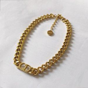 Neue Luxusdesigner Schmuck Frauen Halsketten Gold Dicke Kette Halskette Mit CD Anhänger Edelstahl Armband Halskette Set Mode Kette