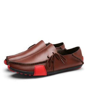 New Leather Mens Loafers Fashion Shoes Handmade Moccasins Soft Leather Slip on Men's Boat Shoe Comfortable Plus Size 38~47 201019