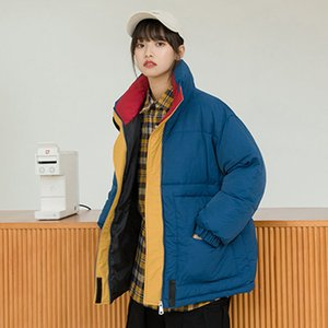 새로운 겨울 다운 코트 칼라 여학생 동쪽 게이트 빵 201,027의 포획 BF 솜 패딩 옷 코트 색상을 추락 느슨한 확인