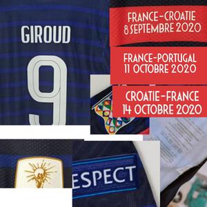 2020 قضية Playe المباراة البالية Mbappe Griezmann جيرو Camavinga Pogba مع مقابل تفاصيل المباراة كرة القدم تصحيح المنسوجات المنزلية