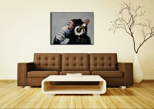 Thinking Monkey With Headphone Modern Abstract Art Home Decor Oil Painting On Canvas Wall Art Canvas Pictures For Wall Decor 201017
