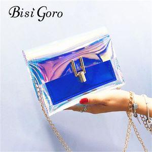Bisi Goro 2018 Jelly Transparent Sac PVC Sac à main Sac à main Femme Sac Clear Fête Candy Couleur Couleur Tote Bourse Bolsa Crossbody1
