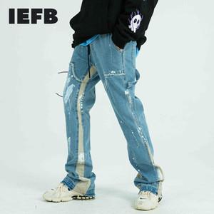 IEFB Painted Trousers Men's Jeans Streetwear Drawstring Frayed Side Ribbon Loose Denim Hip Hop Harajuku Pants Trendy cloth Y4187