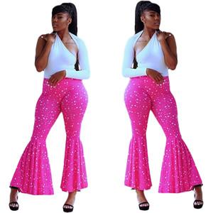 Womens Designer calças perna larga cintura elástica Dot Imprimir calças compridas Streetwear Moda Casual Vestuário Feminino
