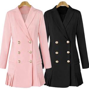 Dress Suits For Women Long Blazer Jacket Runway Designer Double Breasted Office Ladies Elegant Pleated Mini Dress Plus Size XXXL