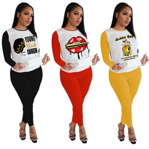 Ladies Lips Pattern Sets Designer New Long Sleeve Round Neck Outfits Letters Tops Pants 2pcs Sets Fashion Female Loose Casual Tracksuits