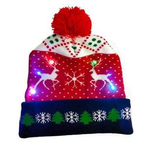 Chapeau de Noël LED Bonnet tricoté Bonnet tricoté Bonnet Christmas Christmas Light Up Chapeau Noël Cadeau de Noël Noël 2021 Nouvel An GWA2693