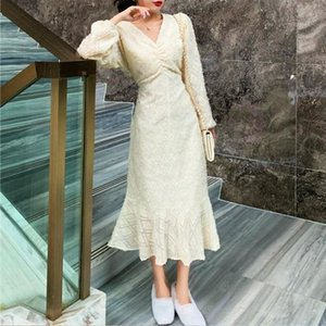 French Full Sleeve Long Trumpet Dress Autumn Warm Women V Neck Fairy Dress 2021 Wedding Party Evening One Piece Clothing Ladies