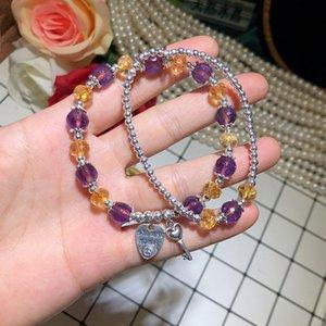 Crystal Bracelet Cut Surface Citrine Amethyst Double-Layer Bracelet Handmade Silver Jewelry Factory Direct Sales