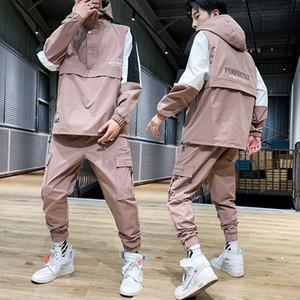 رياضية مجموعة الرجال ربيع الخريف بدلة رياضية مقنع بلوزات + بانت الهيب هوب المرقعة 2PC مجموعة للرجال جرزاية الملابس