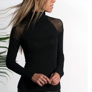 Womens Mesh Turtleneck Tops Solid Color Black Casual Shirt Tees Female Long Sleeved Slim T Shirt Top Basic Clothes S XL