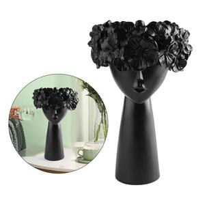 Résine Succulent Planteur Pot Modern Girl Buste Fleur Planters Cactus Container Herb en forme de support de bureau intérieur Ourdoor Décor 18x8x28cm