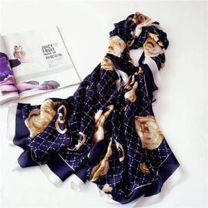 Autumn new charm printing scarf women's thin imitation silk mountain Camellia sun protection beach towel