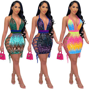 Bayan Kolsuz Elbiseler Tek Parça Set Seksi Bodycon Mini Sequins Elbise Moda Panelli Parti Akşam Gece Kulübü Elbise KLW0113