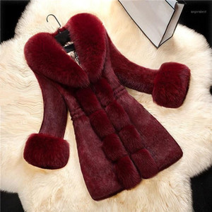 2018 New Arrival Women Long Sleeve Solid Overcoat Elegant Turn-Down Collar Warm Coat Winter Faux Fur Thick Long Outwear1