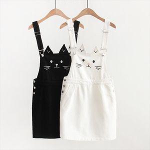 Mulheres Suspender Denim Skirt Kawaii Cat bonito bordado japonês Harajuku Strap Mini Jean Skirt Mori menina Lolita Vestidos 2020