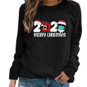 Mujeres 2020 Mascarilla de Navidad de impresión camiseta Merry Christmas letras camiseta de cuello redondo suéter tapas de la blusa del suéter camisetas camiseta CZ111604