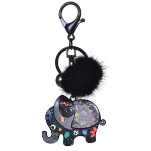 Keyring of Cute Elephant Girls Jewelry Accessories Funny Trinkets Men Enamel Animal Key Holder Rings Chains Keychains for Kids