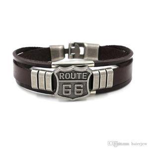 Bracelets Mens Classic 66 Rivet Women Customize Cuff Bangles Punk Retro Multilayer Leather Bracelets