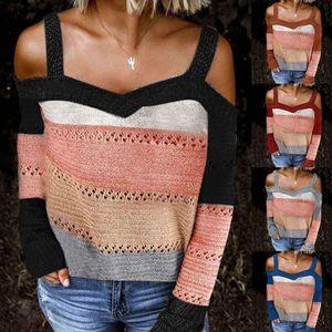 Sexy Frauen Langarm Cold Shoulder gestrickten Pullover Riemchen Pullover 2020 Colorblock Strapless Langarm Sweater