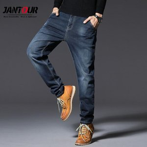 Jantour Pantalones De Hombre oversize Jeans Autunno Inverno Business Casual 75% Cotone Jeans larghi blu uomini diritti Size 48