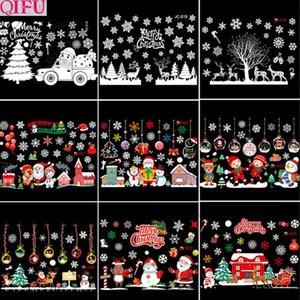 Qifu Feliz Detalhes do Windows Etiqueta Pendant grinalda Snowman Elk Papai Noel de Natal 2020 Natal feliz presente de Ano Novo