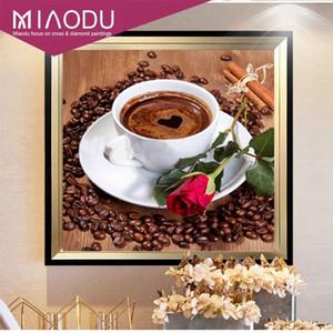 Miaodu DIY Diamond Painting Coffee Coffee Rose Decoración de la casa 5D Diamante Bordado Costura Diamante Mosaico Cocina Pegatinas de Pared 201128