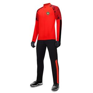 Marocco мужской футбольный спортивный спортивный тренер XXL футбольные вентиляторы версия с длинным рукавом костюм куртка футбольные фанаты джерси