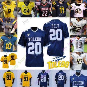 Пользовательские Toledo Football Jersey NCAA College Mitchell Guadagni Koback Bryce Mitchell Danzel Mckinley-Lewis Saeeee Holt Kareem Hunt Dan Williams