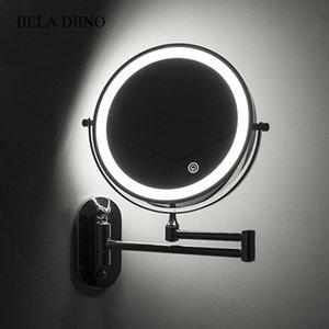 """8 """"Ingrandimento LED Light Trucco Specchio 10x ingrandimento Pieghevole Touch Screen Bagno da bagno Parete a parete Specchio illuminato Y200114"""